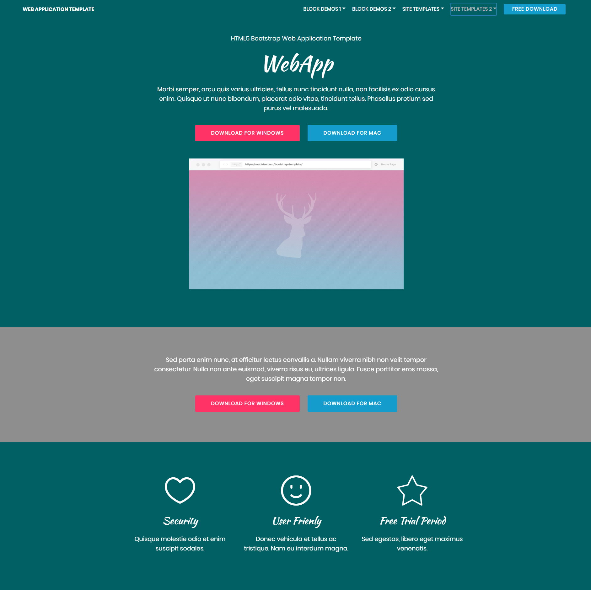 HTML5 Bootstrap Web Application Templates