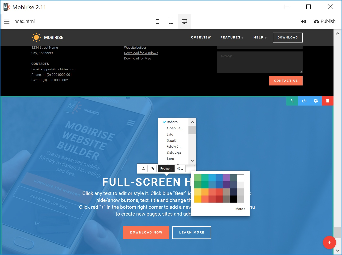 Free HTML5 Web Page  Builder