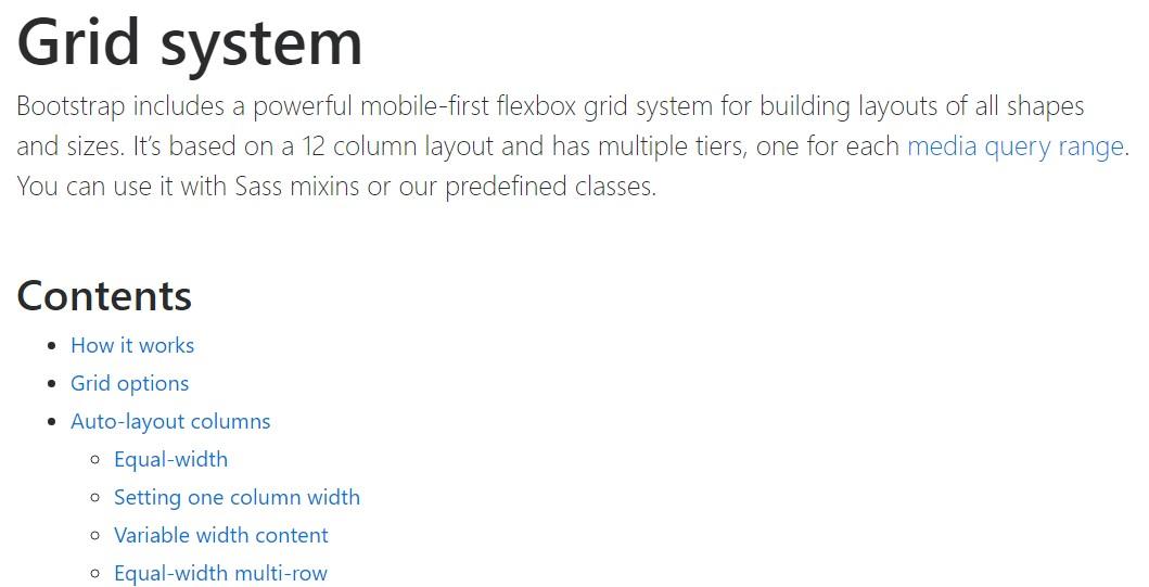Bootstrap grid  main documentation