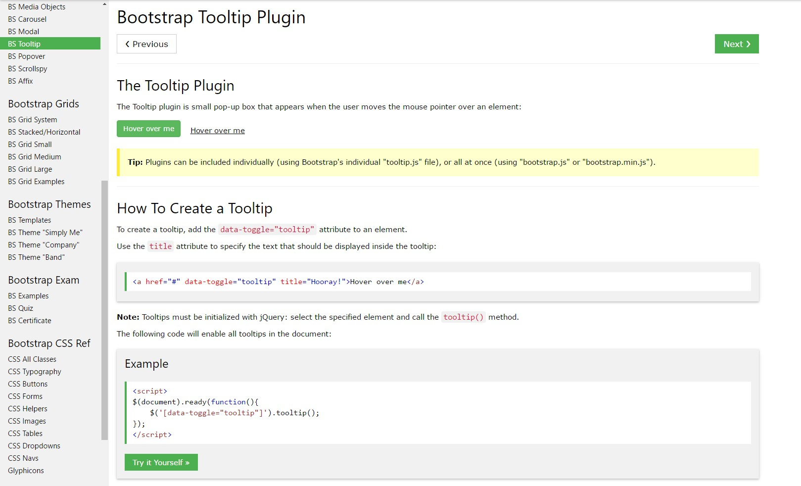 Bootstrap Tooltips tutorial