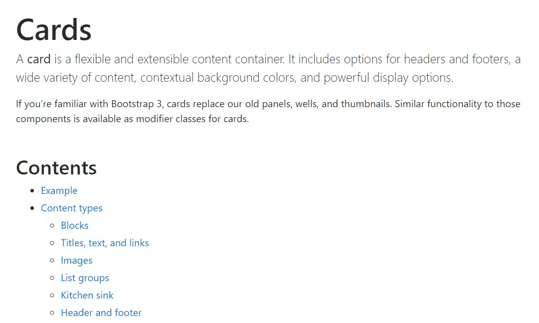 Bootstrap Panel-Cards:  authoritative documentation