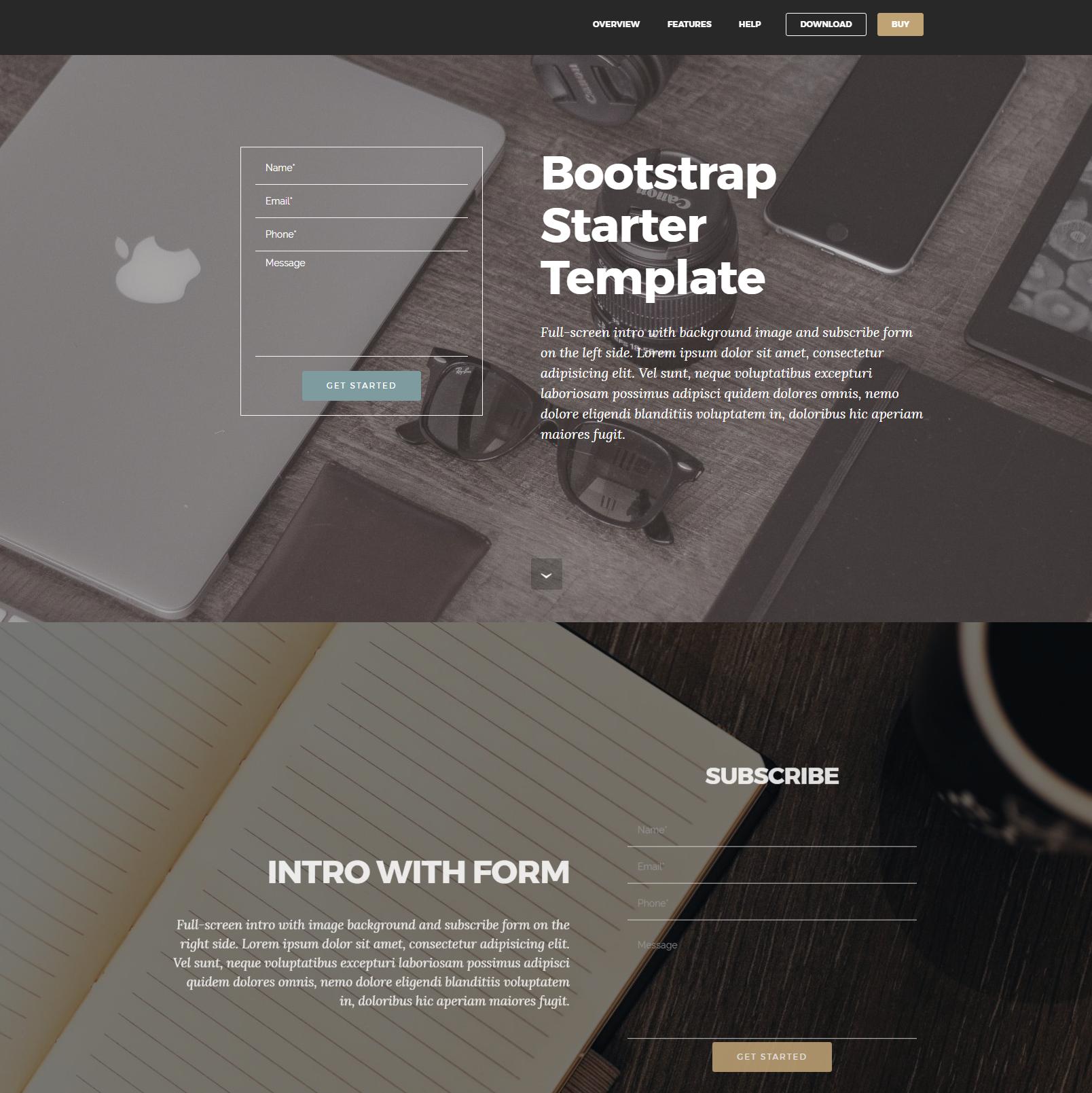 HTML5 Bootstrap Starter Themes